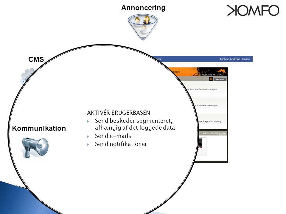 Statistik Kommunikation CMS AKTIVÉR BRUGERBASEN  Send beskeder segmenteret, afhængig af det loggede data  Send e-mails  Send notifikationer Kommunikation Annoncering