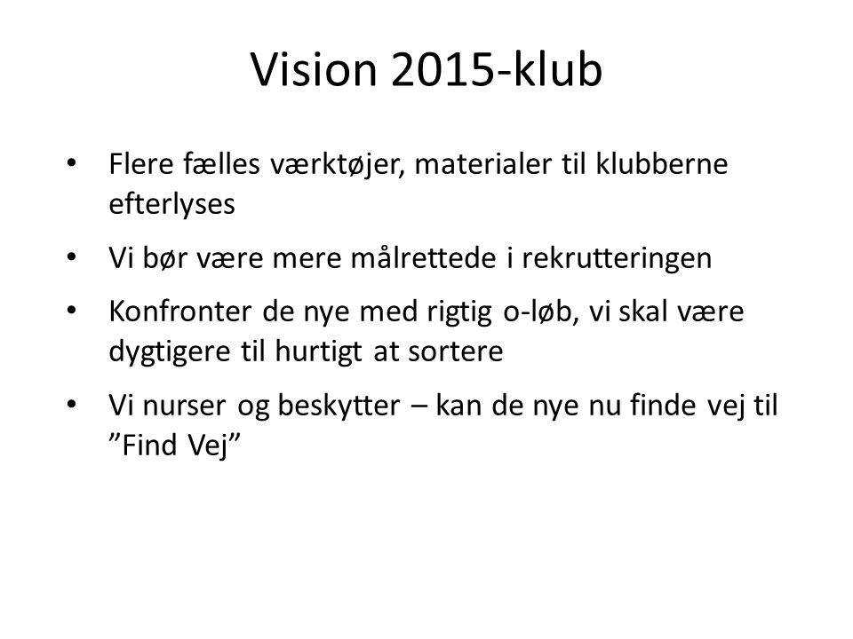 Vision 2015-klub Flere fælles værktøjer, materialer til klubberne efterlyses Vi bør være mere målrettede i rekrutteringen Konfronter de nye med rigtig o-løb, vi skal være dygtigere til hurtigt at sortere Vi nurser og beskytter – kan de nye nu finde vej til Find Vej