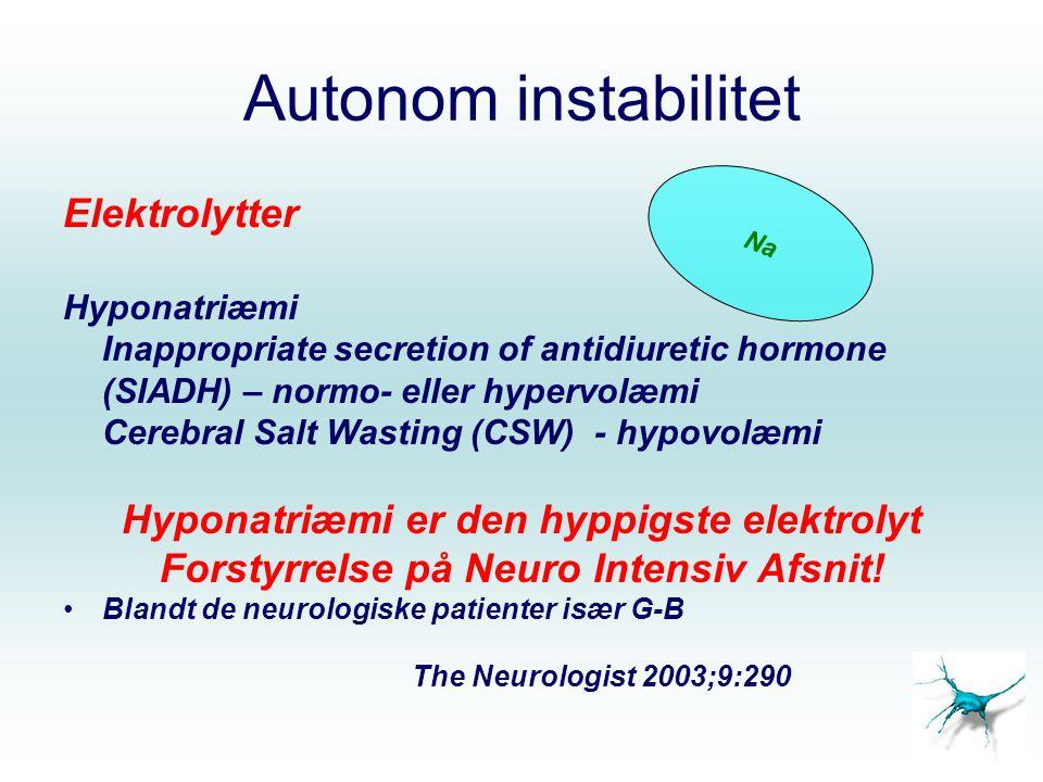 Autonom instabilitet Elektrolytter Hyponatriæmi Inappropriate secretion of antidiuretic hormone (SIADH) – normo- eller hypervolæmi Cerebral Salt Wasting (CSW) - hypovolæmi Hyponatriæmi er den hyppigste elektrolyt Forstyrrelse på Neuro Intensiv Afsnit.