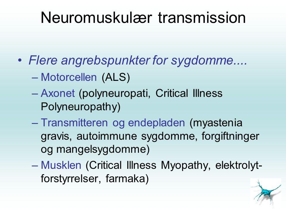 Hypodynamisk respirationsinsufficiens 1.Guillian-Barré (Polyradikulit) 1-4/100.000 30% kræver assisteret ventilation 2.Myastenia Gravis / Eaton-Lambert 3.Tetrapareser (ej kun NK) 4.Muskel- svindlerne – kronisk NM sgd 5.CIP (alm.