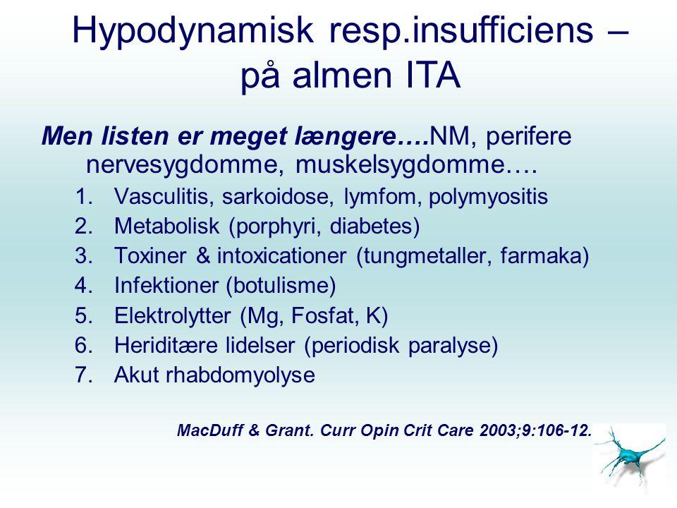 Hypodynamisk resp.insufficiens – på almen ITA Men listen er meget længere….NM, perifere nervesygdomme, muskelsygdomme….