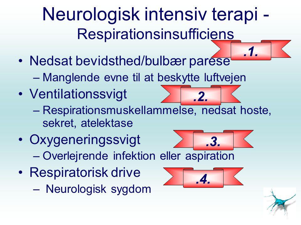 RESPIRATION - SCI Pulmonale komplikationer (pneumoni, atelektase) Optræder proportionalt med tværsnitsniveau - 100 % af ptt.