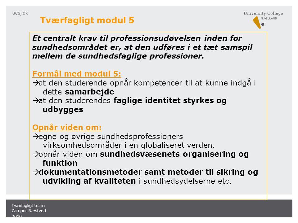 Tværfagligt modul 5 Et centralt krav til professionsudøvelsen inden for sundhedsområdet er, at den udføres i et tæt samspil mellem de sundhedsfaglige professioner.