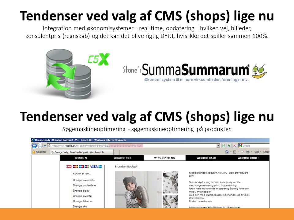 Tendenser ved valg af CMS (shops) lige nu Integration med økonomisystemer - real time, opdatering - hvilken vej, billeder, konsulentpris (regnskab) og det kan det blive rigtig DYRT, hvis ikke det spiller sammen 100%.