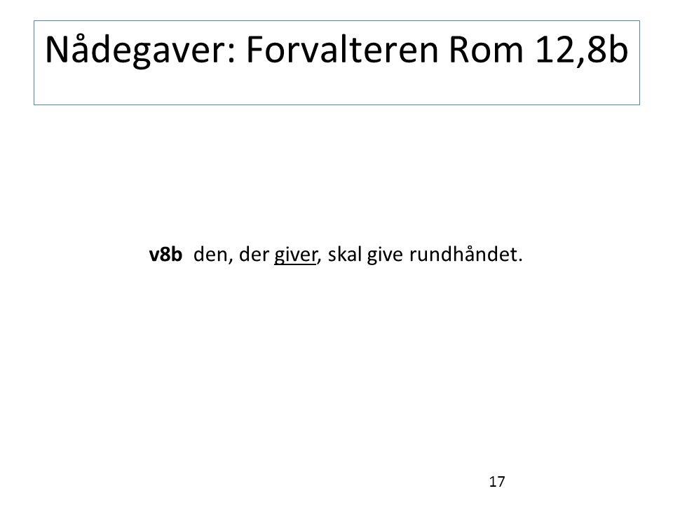Nådegaver: Forvalteren Rom 12,8b v8b den, der giver, skal give rundhåndet. 17