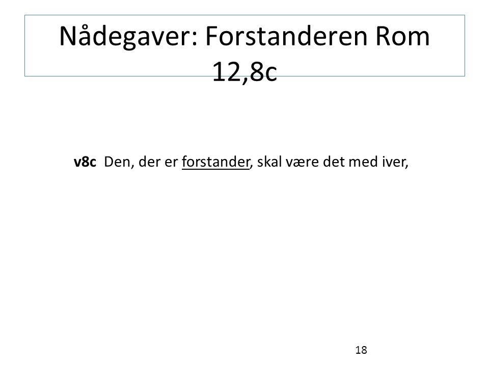 Nådegaver: Forstanderen Rom 12,8c v8c Den, der er forstander, skal være det med iver, 18