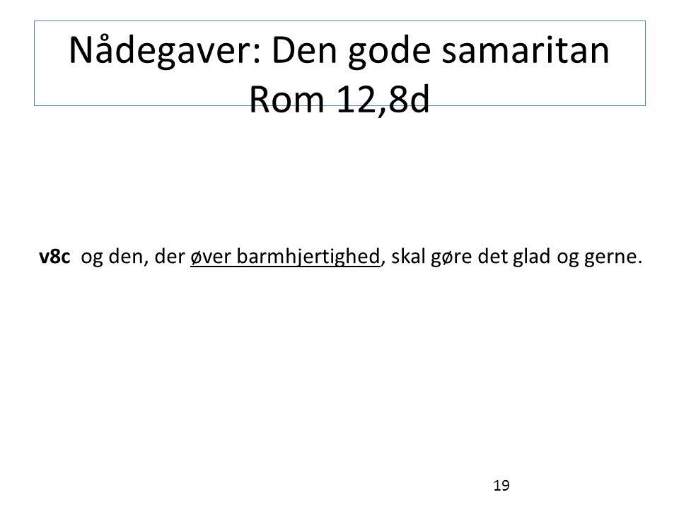 Nådegaver: Den gode samaritan Rom 12,8d v8c og den, der øver barmhjertighed, skal gøre det glad og gerne.