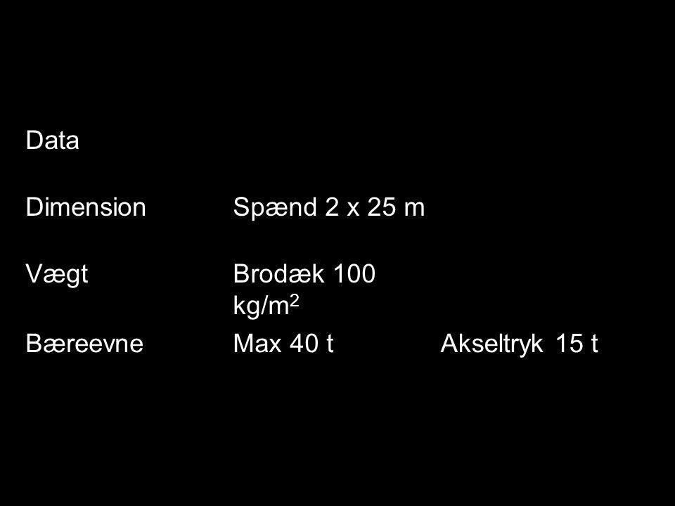 Data DimensionSpænd 2 x 25 m VægtBrodæk 100 kg/m 2 BæreevneMax 40 tAkseltryk 15 t