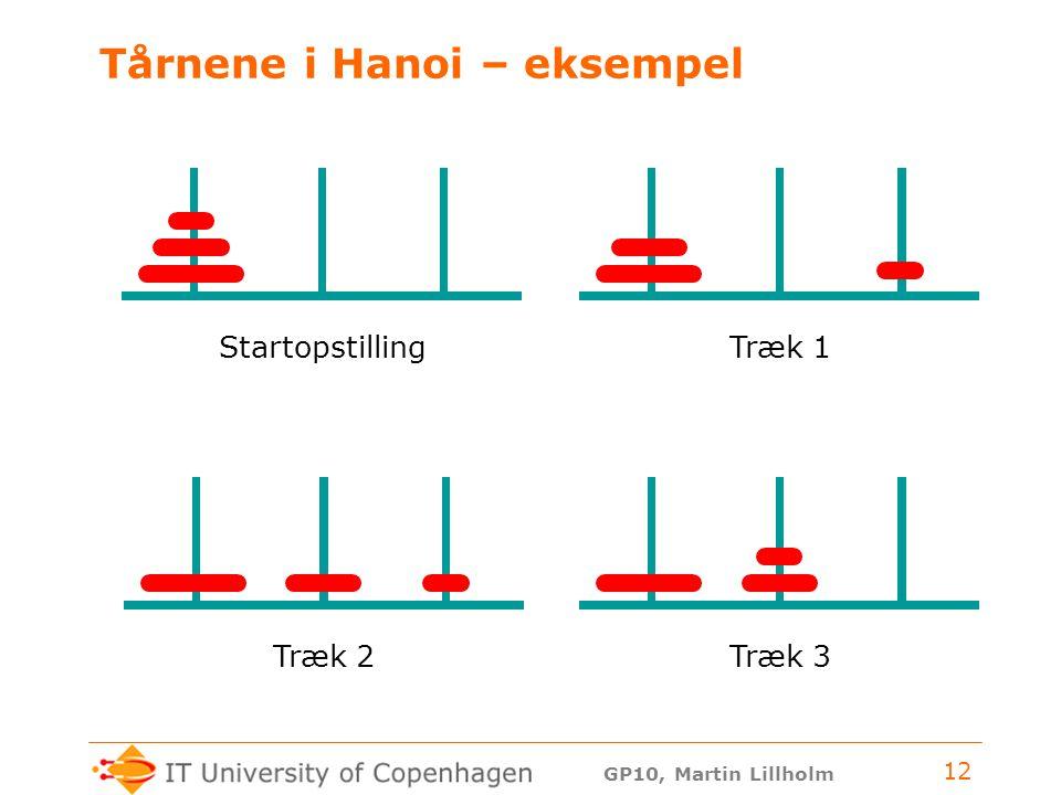 GP10, Martin Lillholm 12 Tårnene i Hanoi – eksempel StartopstillingTræk 1Træk 3Træk 2