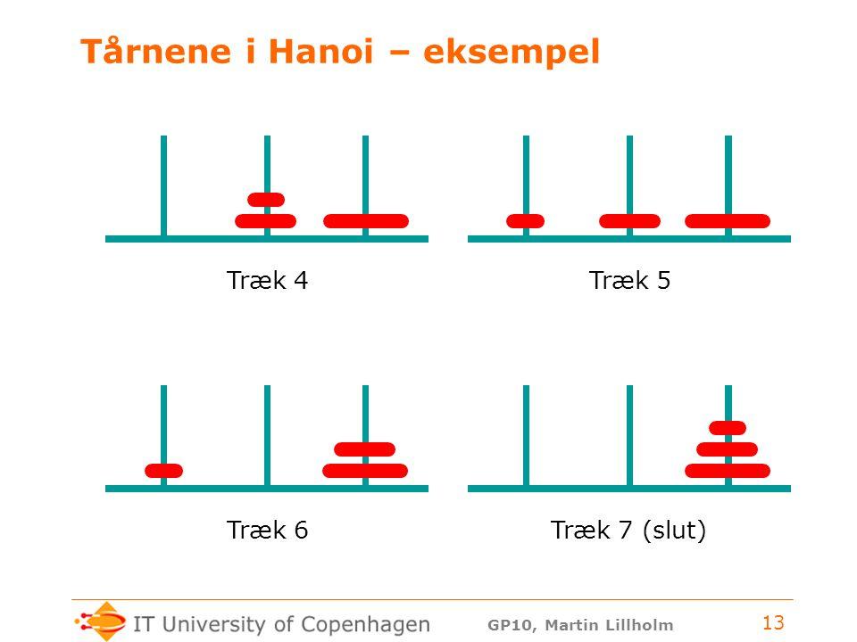 GP10, Martin Lillholm 13 Tårnene i Hanoi – eksempel Træk 4Træk 5Træk 6Træk 7 (slut)