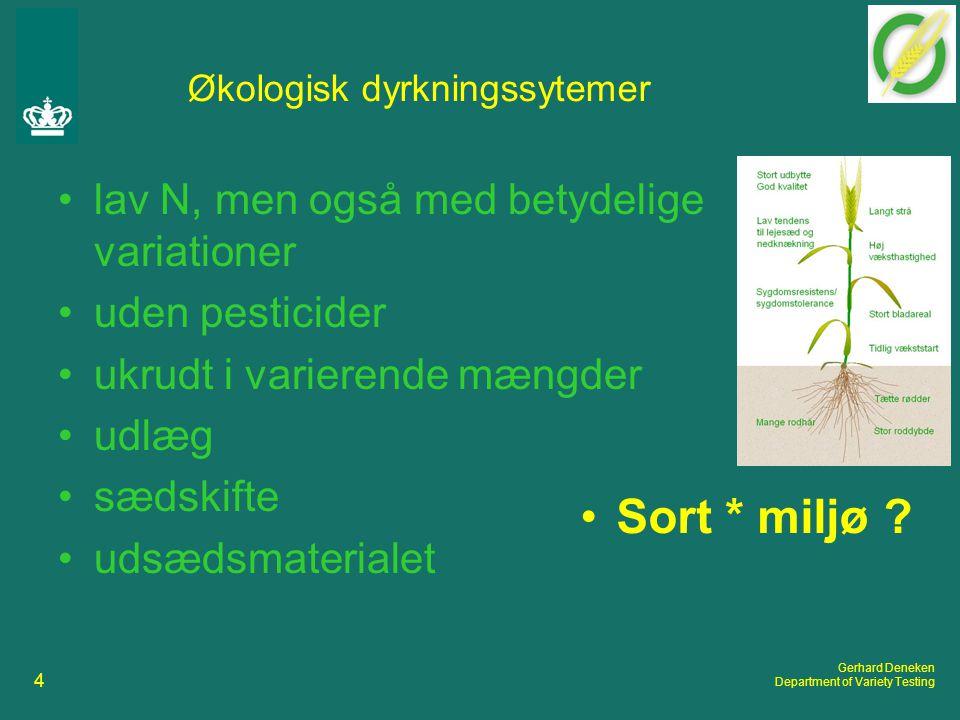4 Gerhard Deneken Department of Variety Testing Økologisk dyrkningssytemer lav N, men også med betydelige variationer uden pesticider ukrudt i varierende mængder udlæg sædskifte udsædsmaterialet Sort * miljø
