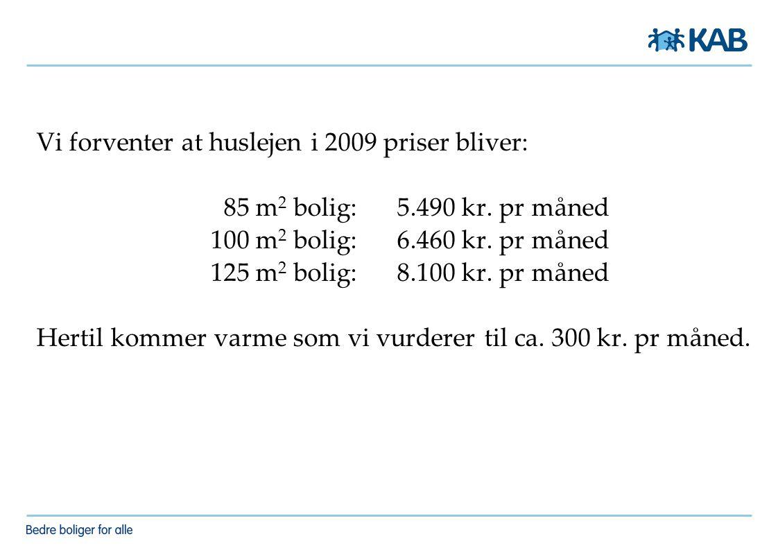 Vi forventer at huslejen i 2009 priser bliver: 85 m 2 bolig: 5.490 kr.