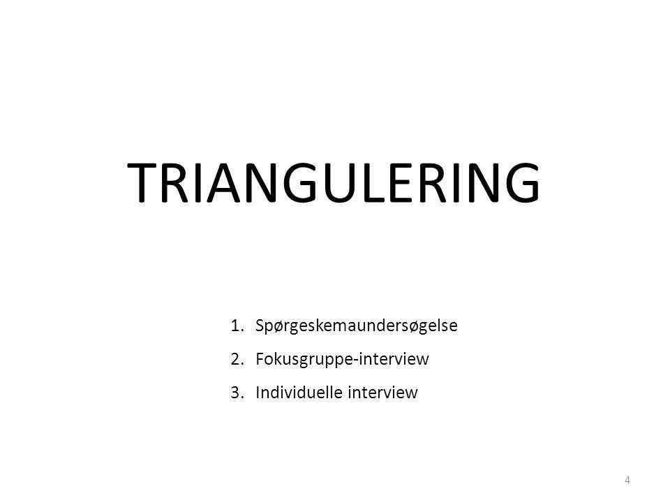 1.Spørgeskemaundersøgelse 2.Fokusgruppe-interview 3.Individuelle interview TRIANGULERING 4