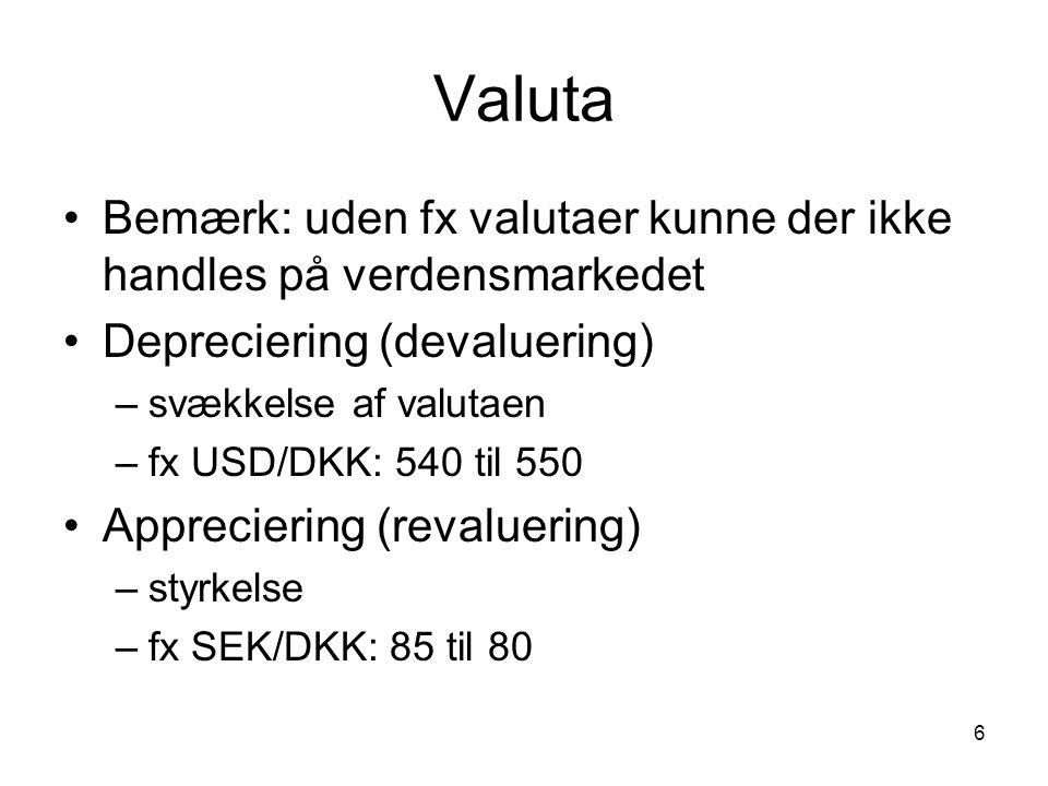 6 Valuta Bemærk: uden fx valutaer kunne der ikke handles på verdensmarkedet Depreciering (devaluering) –svækkelse af valutaen –fx USD/DKK: 540 til 550 Appreciering (revaluering) –styrkelse –fx SEK/DKK: 85 til 80