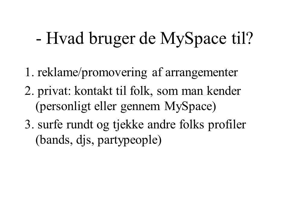 - Hvad bruger de MySpace til. 1. reklame/promovering af arrangementer 2.