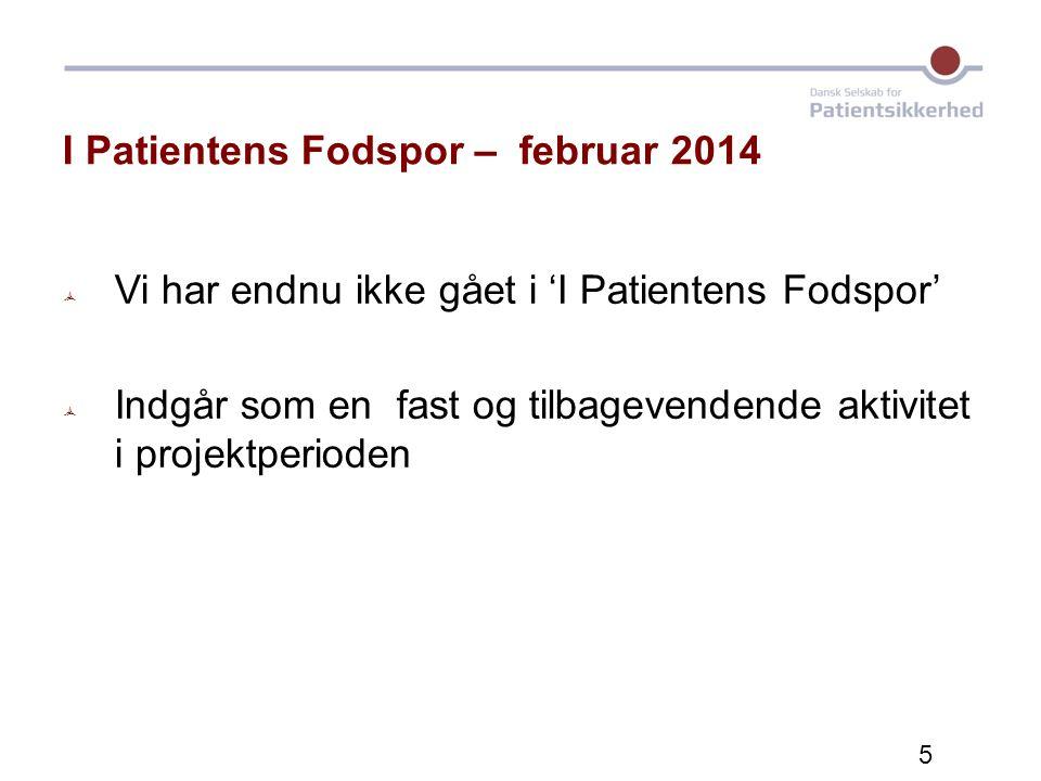 I Patientens Fodspor – februar 2014  Vi har endnu ikke gået i 'I Patientens Fodspor'  Indgår som en fast og tilbagevendende aktivitet i projektperioden 5