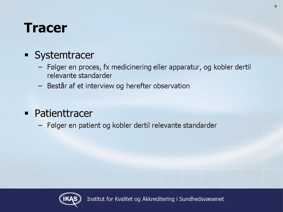 99 Tracer  Systemtracer –Følger en proces, fx medicinering eller apparatur, og kobler dertil relevante standarder –Består af et interview og herefter observation  Patienttracer –Følger en patient og kobler dertil relevante standarder