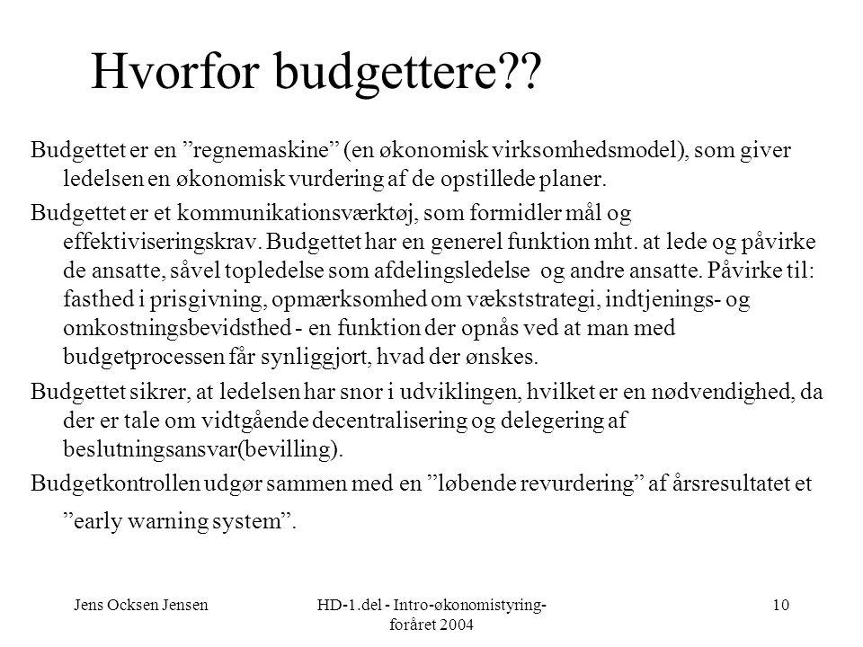 Jens Ocksen JensenHD-1.del - Intro-økonomistyring- foråret 2004 10 Hvorfor budgettere .