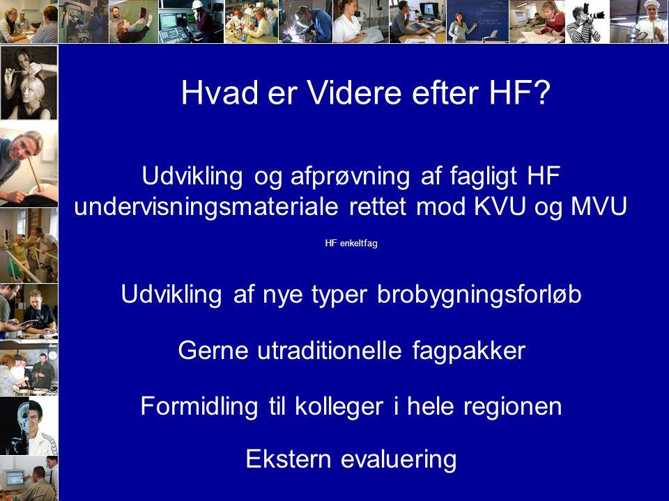 Udvikling og afprøvning af fagligt HF undervisningsmateriale rettet mod KVU og MVU HF enkeltfag Udvikling af nye typer brobygningsforløb Gerne utraditionelle fagpakker Formidling til kolleger i hele regionen Ekstern evaluering Hvad er Videre efter HF