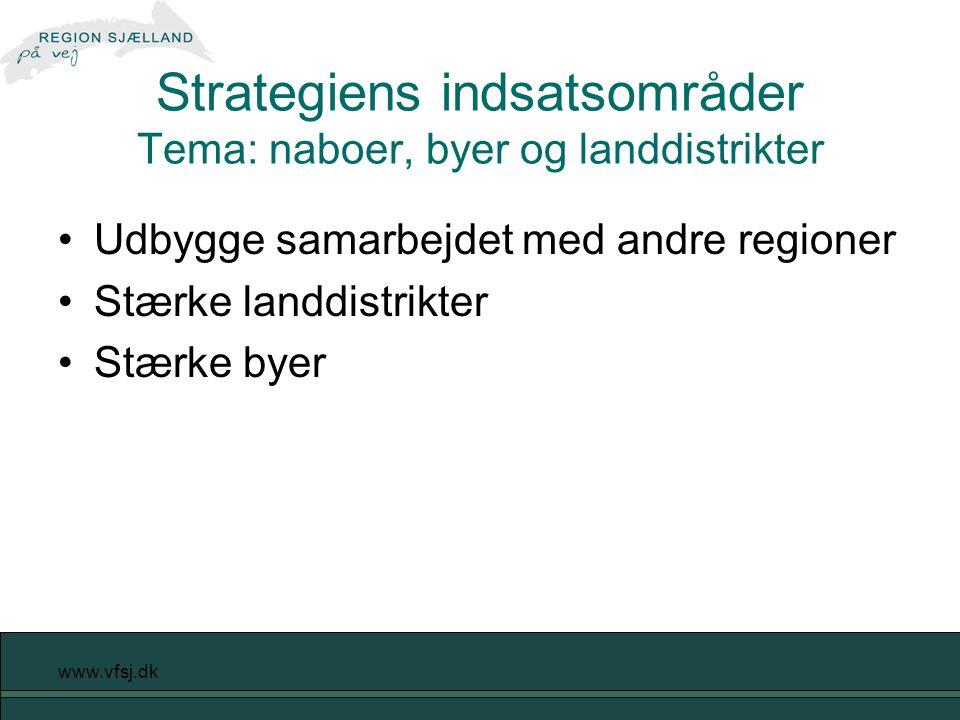 www.vfsj.dk Strategiens indsatsområder Tema: naboer, byer og landdistrikter Udbygge samarbejdet med andre regioner Stærke landdistrikter Stærke byer