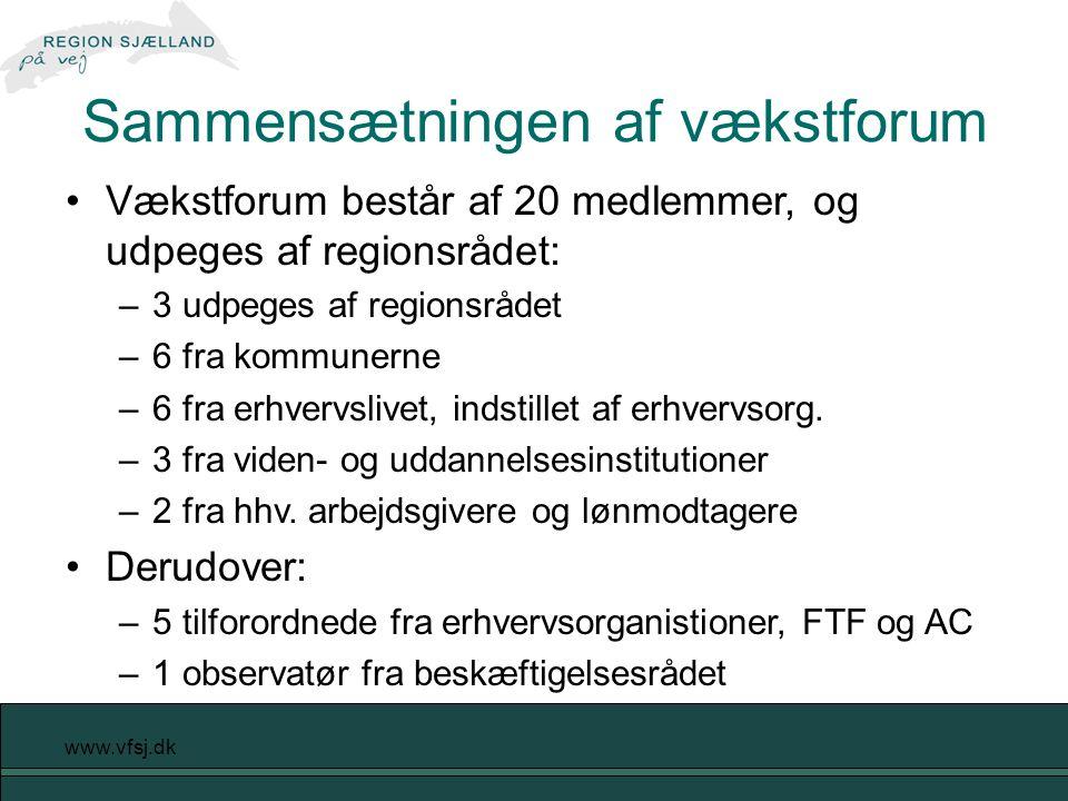 www.vfsj.dk Vækstforum består af 20 medlemmer, og udpeges af regionsrådet: –3 udpeges af regionsrådet –6 fra kommunerne –6 fra erhvervslivet, indstillet af erhvervsorg.