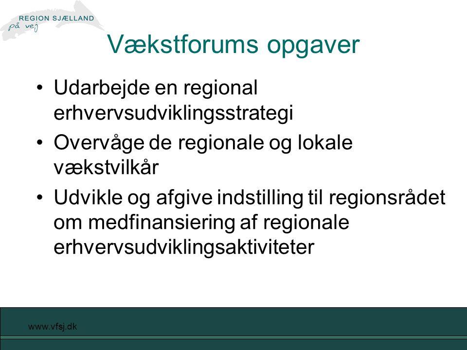 www.vfsj.dk Vækstforums opgaver Udarbejde en regional erhvervsudviklingsstrategi Overvåge de regionale og lokale vækstvilkår Udvikle og afgive indstilling til regionsrådet om medfinansiering af regionale erhvervsudviklingsaktiviteter