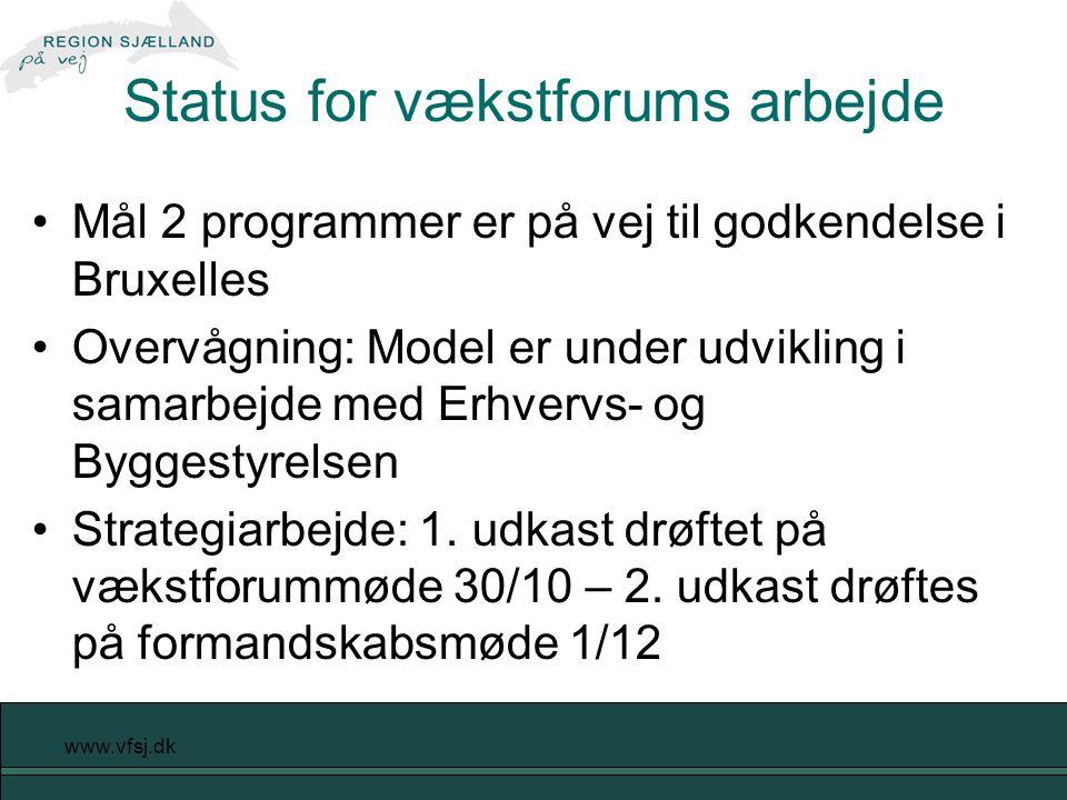 www.vfsj.dk Status for vækstforums arbejde Mål 2 programmer er på vej til godkendelse i Bruxelles Overvågning: Model er under udvikling i samarbejde med Erhvervs- og Byggestyrelsen Strategiarbejde: 1.