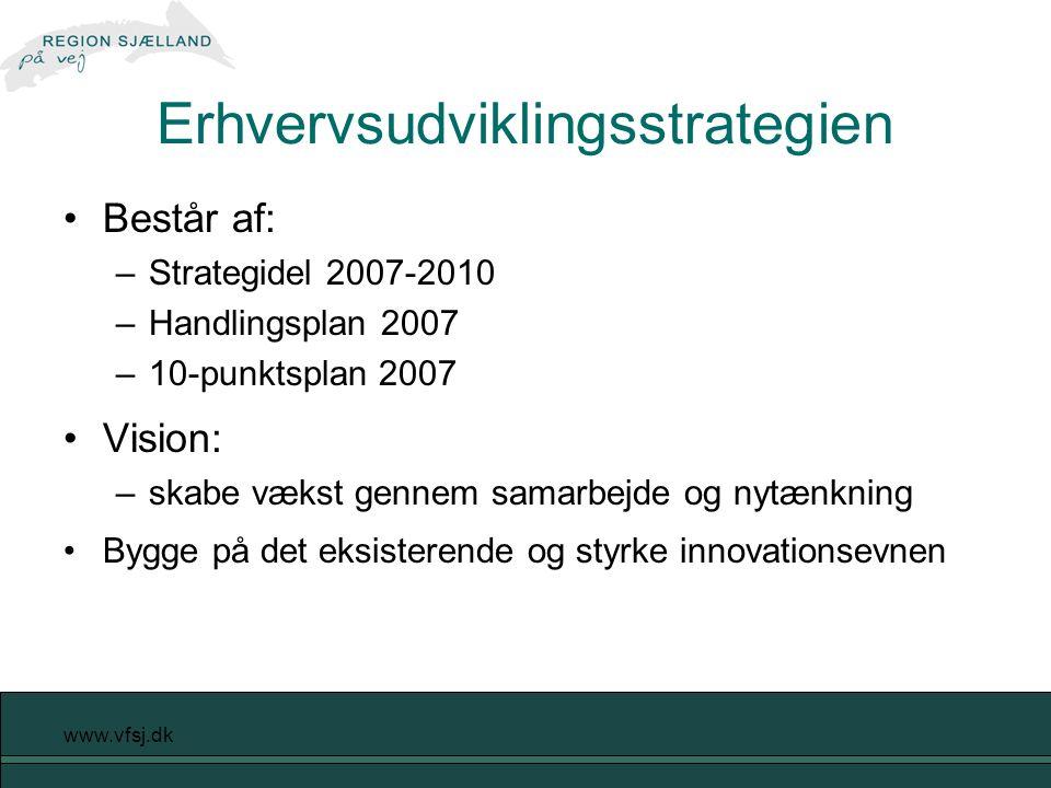 www.vfsj.dk Erhvervsudviklingsstrategien Består af: –Strategidel 2007-2010 –Handlingsplan 2007 –10-punktsplan 2007 Vision: –skabe vækst gennem samarbejde og nytænkning Bygge på det eksisterende og styrke innovationsevnen