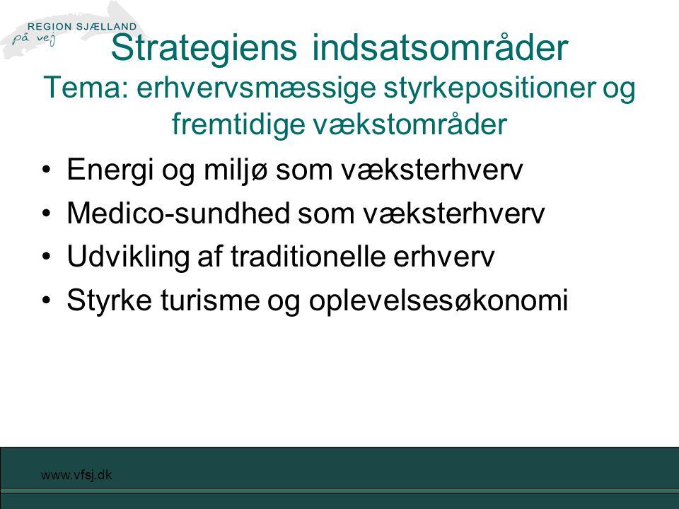 www.vfsj.dk Strategiens indsatsområder Tema: erhvervsmæssige styrkepositioner og fremtidige vækstområder Energi og miljø som væksterhverv Medico-sundhed som væksterhverv Udvikling af traditionelle erhverv Styrke turisme og oplevelsesøkonomi