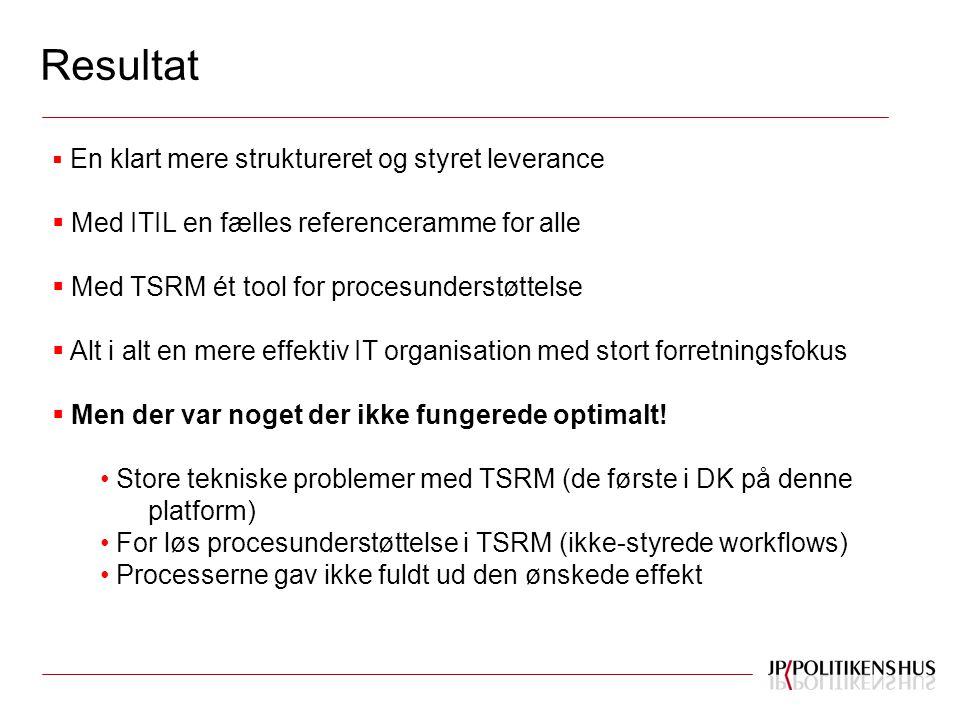 Resultat  En klart mere struktureret og styret leverance  Med ITIL en fælles referenceramme for alle  Med TSRM ét tool for procesunderstøttelse  Alt i alt en mere effektiv IT organisation med stort forretningsfokus  Men der var noget der ikke fungerede optimalt.