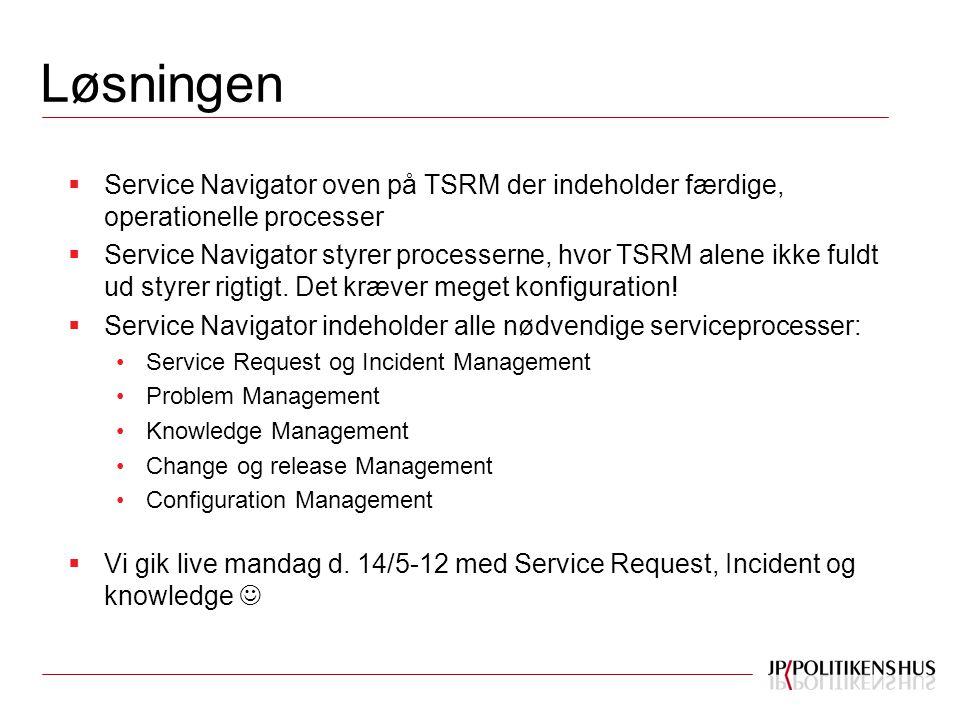 Løsningen  Service Navigator oven på TSRM der indeholder færdige, operationelle processer  Service Navigator styrer processerne, hvor TSRM alene ikke fuldt ud styrer rigtigt.