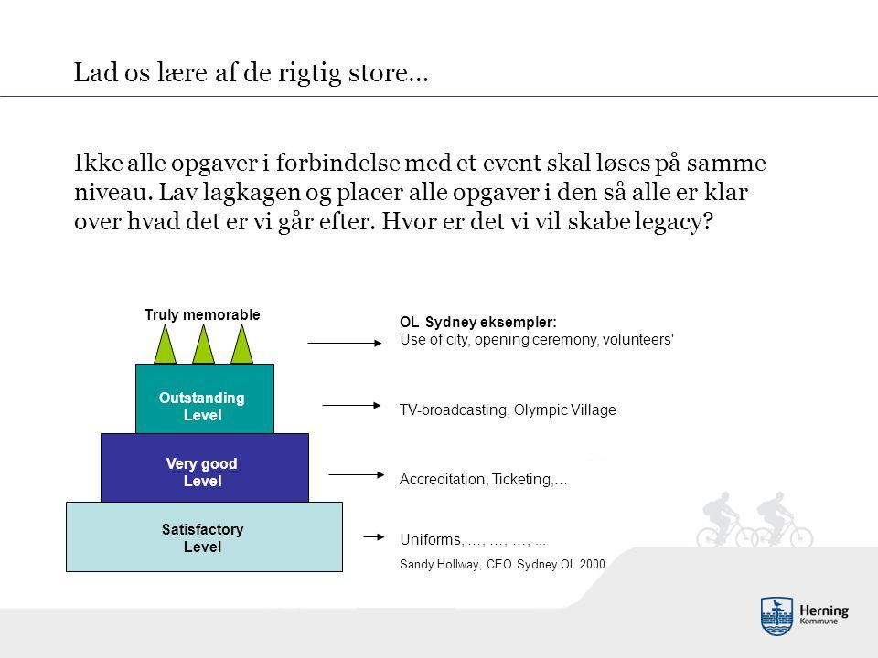 Ikke alle opgaver i forbindelse med et event skal løses på samme niveau.