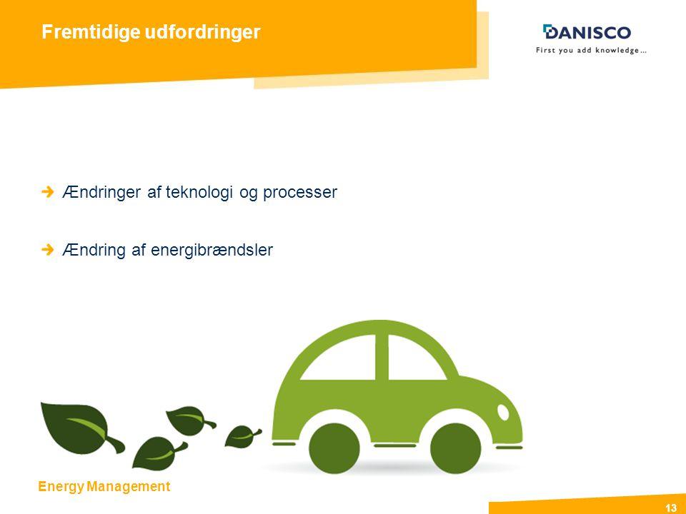 Energy Management 13 Fremtidige udfordringer Ændringer af teknologi og processer Ændring af energibrændsler
