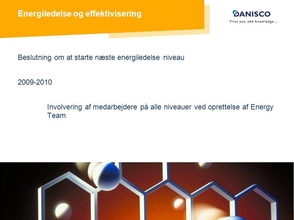 Energy Management 8 Energiledelse og effektivisering Beslutning om at starte næste energiledelse niveau 2009-2010 Involvering af medarbejdere på alle niveauer ved oprettelse af Energy Team