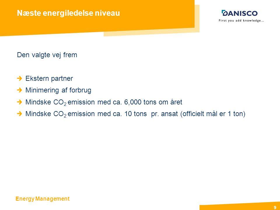 Energy Management 9 Næste energiledelse niveau Den valgte vej frem Ekstern partner Minimering af forbrug Mindske CO 2 emission med ca.
