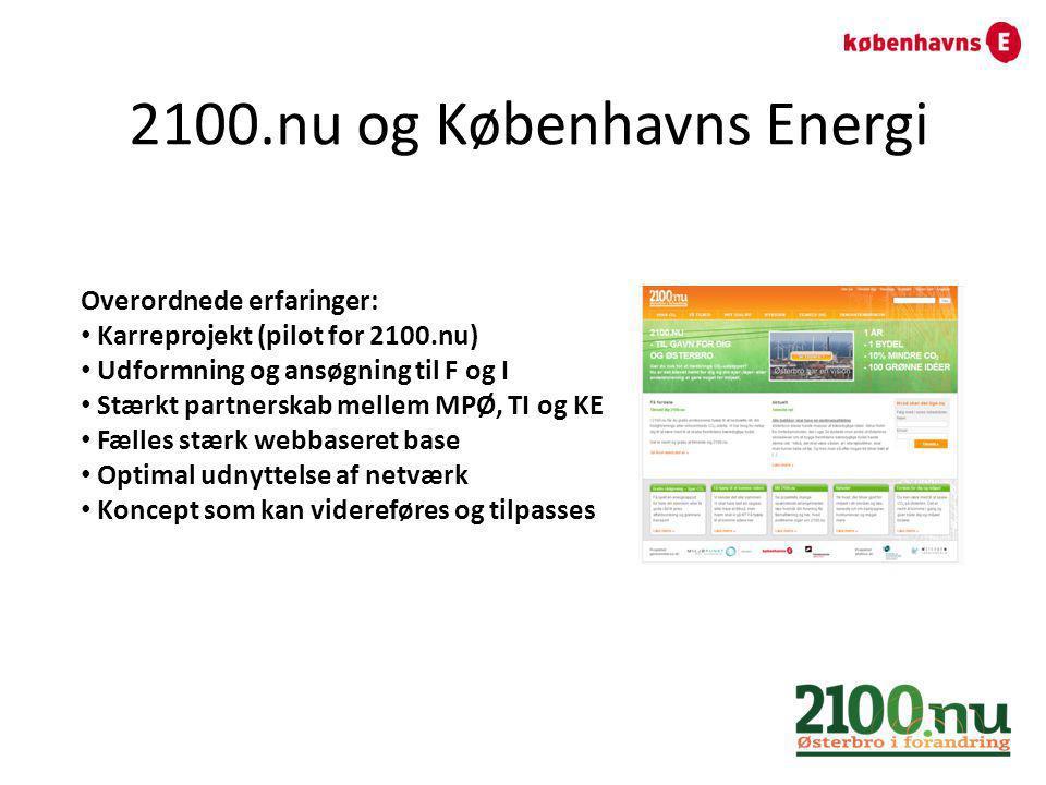2100.nu og Københavns Energi Overordnede erfaringer: Karreprojekt (pilot for 2100.nu) Udformning og ansøgning til F og I Stærkt partnerskab mellem MPØ, TI og KE Fælles stærk webbaseret base Optimal udnyttelse af netværk Koncept som kan videreføres og tilpasses
