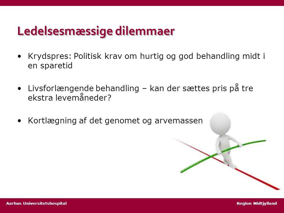 Aarhus Universitetshospital Region Midtjylland Ledelsesmæssige dilemmaer Krydspres: Politisk krav om hurtig og god behandling midt i en sparetid Livsforlængende behandling – kan der sættes pris på tre ekstra levemåneder.