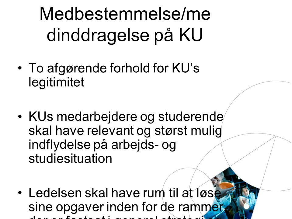 Medbestemmelse/me dinddragelse på KU To afgørende forhold for KU's legitimitet KUs medarbejdere og studerende skal have relevant og størst mulig indflydelse på arbejds- og studiesituation Ledelsen skal have rum til at løse sine opgaver inden for de rammer, der er fastsat i generel strategi og budget
