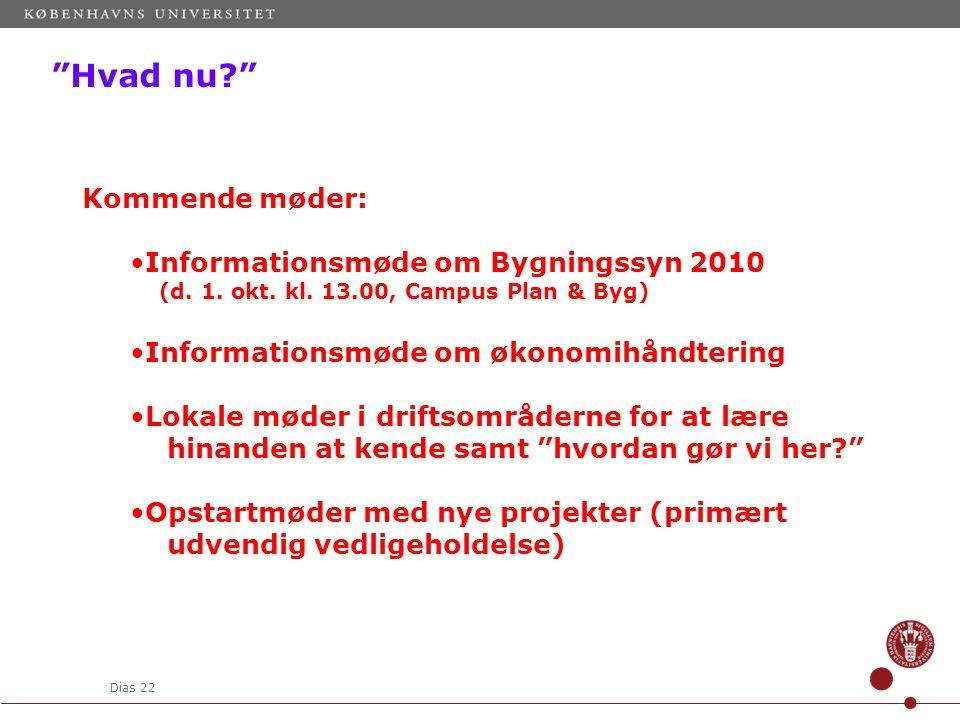 Dias 22 Hvad nu Kommende møder: Informationsmøde om Bygningssyn 2010 (d.