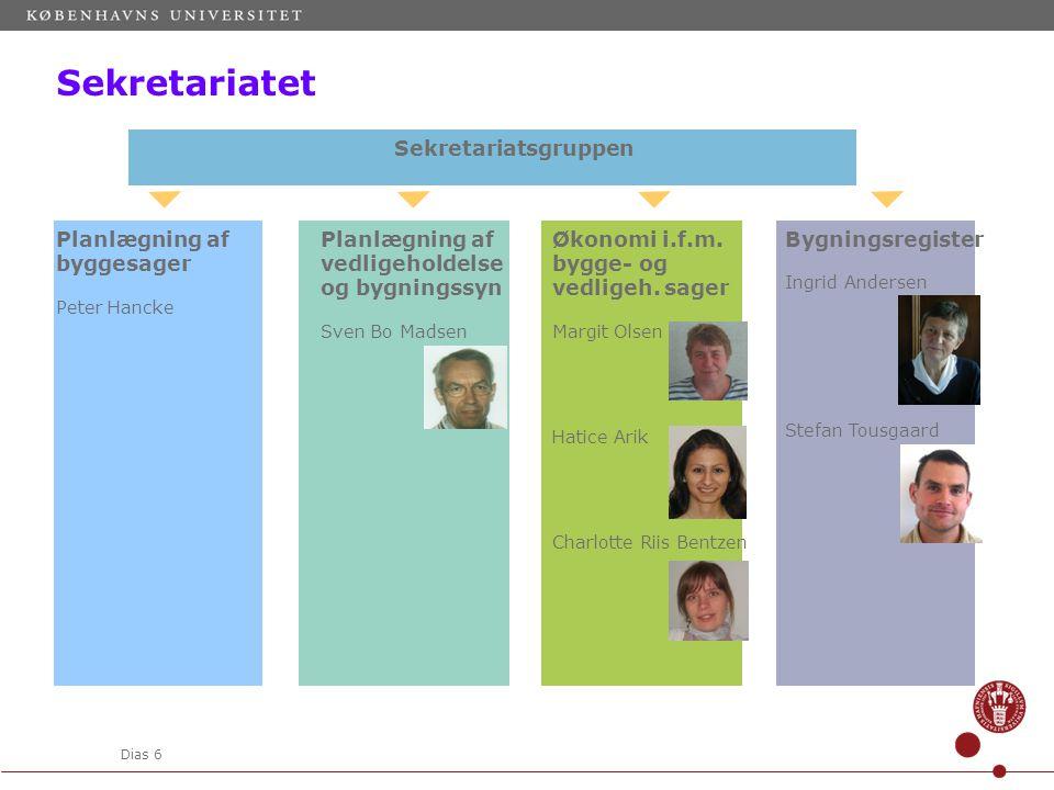 Dias 6 Sekretariatsgruppen Planlægning af byggesager Peter Hancke Planlægning af vedligeholdelse og bygningssyn Sven Bo Madsen Økonomi i.f.m.