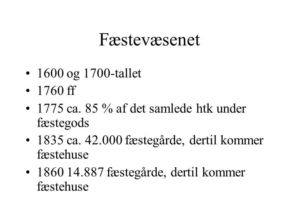 Fæstevæsenet 1600 og 1700-tallet 1760 ff 1775 ca. 85 % af det samlede htk under fæstegods 1835 ca.