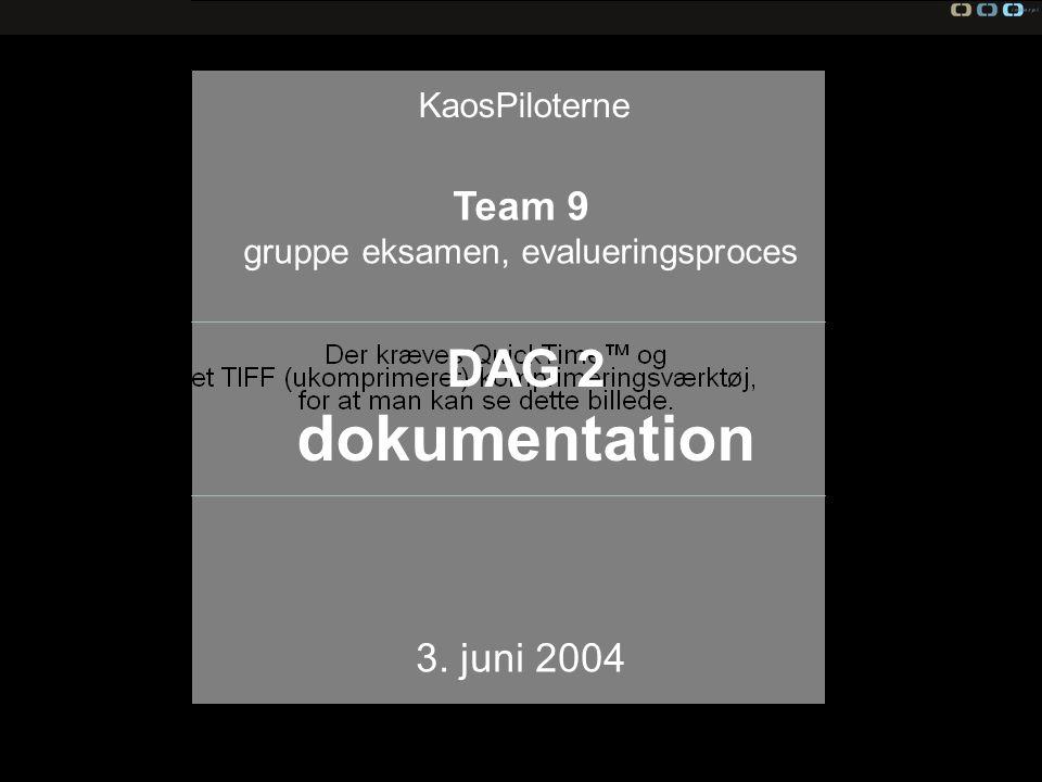 Team 9, evaluering KaosPiloterne Team 9 gruppe eksamen, evalueringsproces 3.