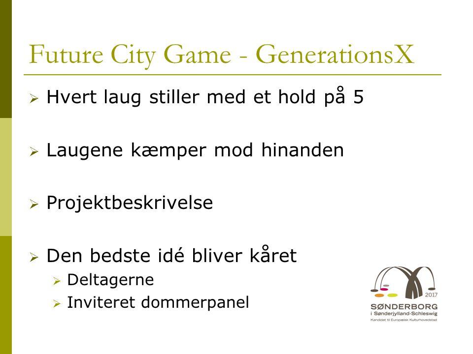 Future City Game - GenerationsX  Hvert laug stiller med et hold på 5  Laugene kæmper mod hinanden  Projektbeskrivelse  Den bedste idé bliver kåret  Deltagerne  Inviteret dommerpanel