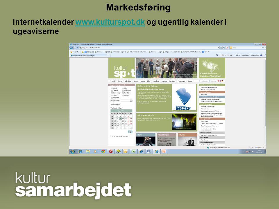 Markedsføring Internetkalender www.kulturspot.dk og ugentlig kalender i ugeavisernewww.kulturspot.dk