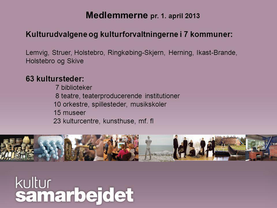 Det forpligtende samarbejde Kultursamarbejdet i Ringkøbing Amt er blevet til Foreningen Kultursamarbejdet i Midt- og Vestjylland Medlemmerne pr.
