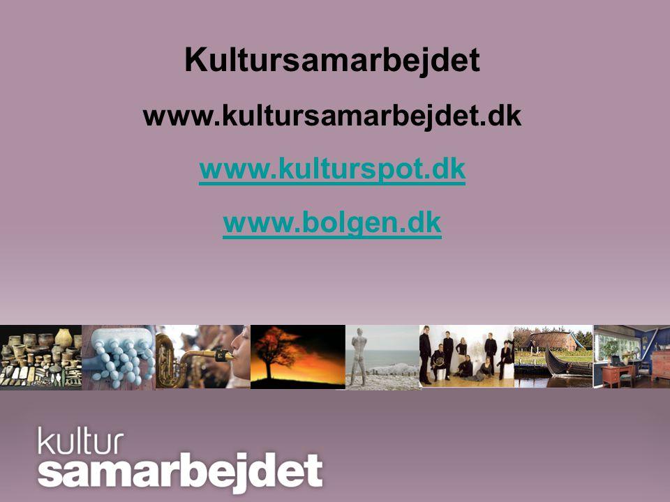 Det forpligtende samarbejde Kultursamarbejdet i Ringkøbing Amt er blevet til Foreningen Kultursamarbejdet i Midt- og Vestjylland Kultursamarbejdet www.kultursamarbejdet.dk www.kulturspot.dk www.bolgen.dk