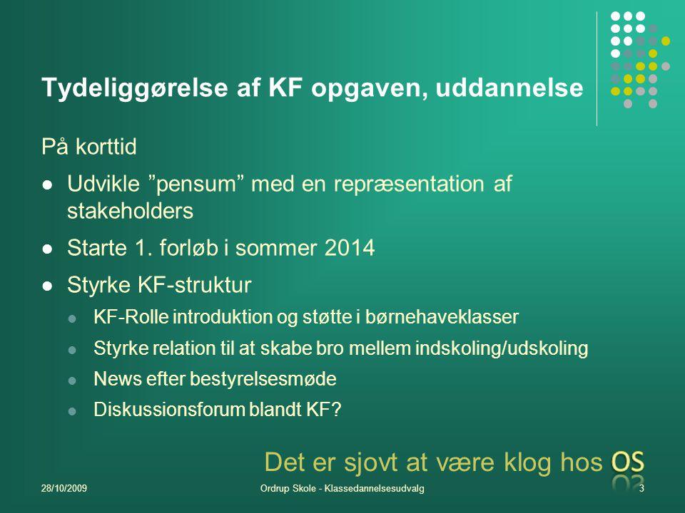 Tydeliggørelse af KF opgaven, uddannelse På korttid Udvikle pensum med en repræsentation af stakeholders Starte 1.