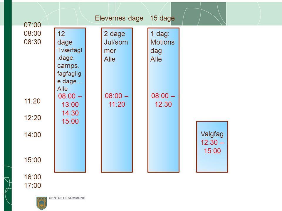 07:00 08:00 08:30 11:20 12:20 14:00 15:00 16:00 17:00 Elevernes dage 15 dage 08:00 – 13:00 14:30 15:00 08:00 – 11:20 08:00 – 12:30 12 dage Tværfagl.dage, camps, fagfaglig e dage… Alle 2 dage Jul/som mer Alle 1 dag: Motions dag Alle Valgfag 12:30 – 15:00