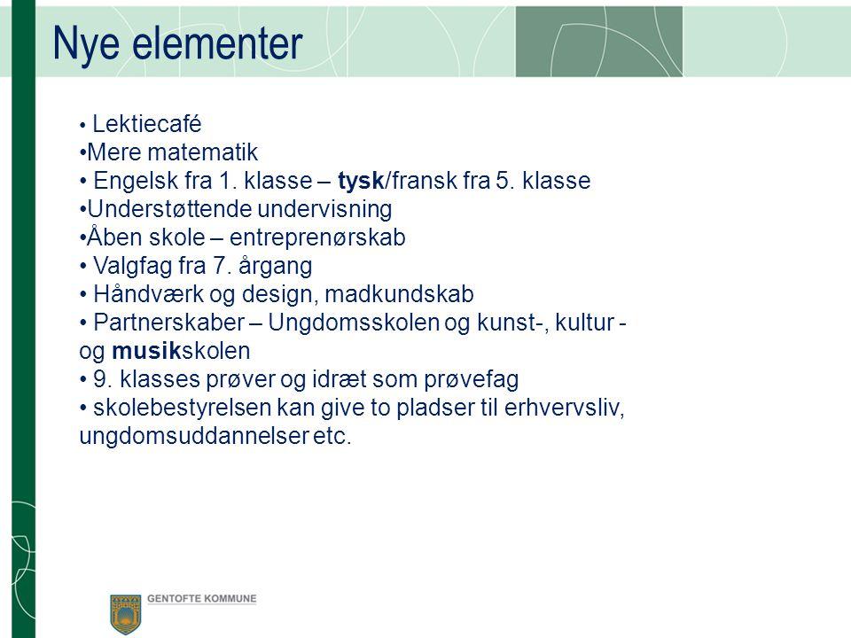 Nye elementer Lektiecafé Mere matematik Engelsk fra 1.