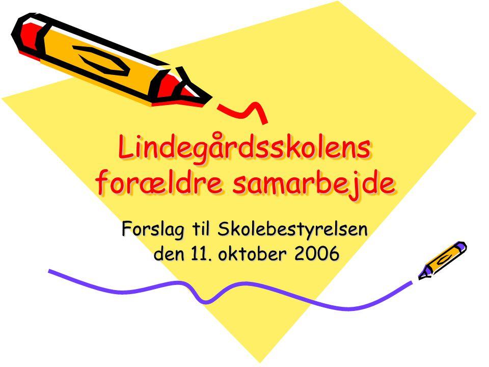 Lindegårdsskolens forældre samarbejde Forslag til Skolebestyrelsen den 11.